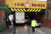 Lorry lodged under bridge in Corporation Street slows traffic